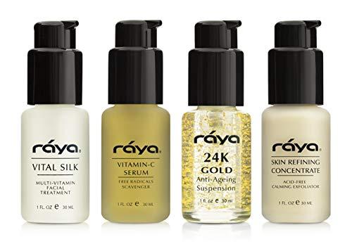 RAYA Serum Skin Care Kit (K-1) | 4 Piece Set of Best Selling Serums | Vitamin-C Serum, Vital Silk Serum, 24K Gold Serum, Skin Refining Concentrate