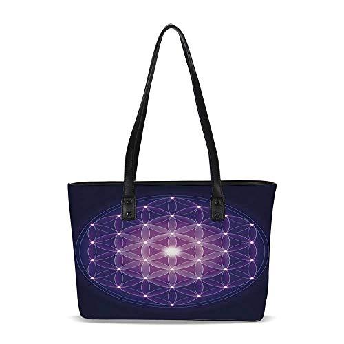 Dark Blue PU Shoulder Tote Bag,Flower of Life with Stars Spiritual Symbol Sacre