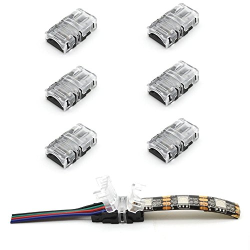 Large Product Image of RGBZONE 10 Pack RGB 4Pin LED Strip Connector for 10mm Waterproof RGB 5050 LED Strip, Quick Strip to Wire Connector Without Stripping Wire