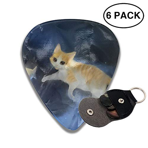 Colby Keats Guitar Picks Plectrums Cat Cute Fish Classic Electric Celluloid Acoustic for Bass Mandolin Ukulele 6 Pack 3 Sizes -