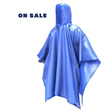 Rain Poncho Coat Jacket with Hood - AOPETIO Uniquely Design Lightweight Easy Carry Raincoat for Camping Hiking
