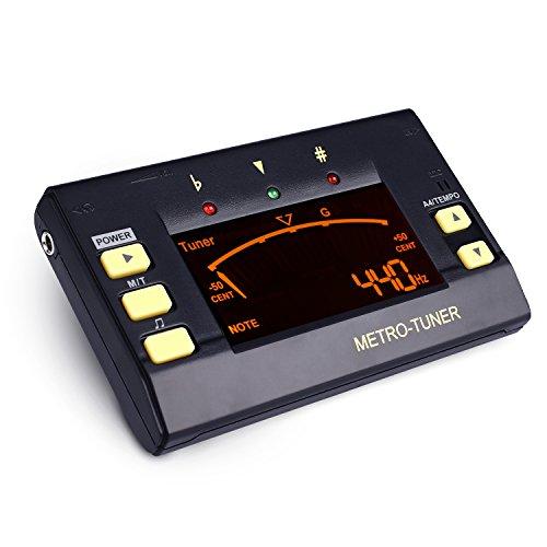 Mugig Metronom digital Stimmgerät Tuner 3 in 1 Funktionen mit großem Klarem und Buntem LCD-Bildschirm