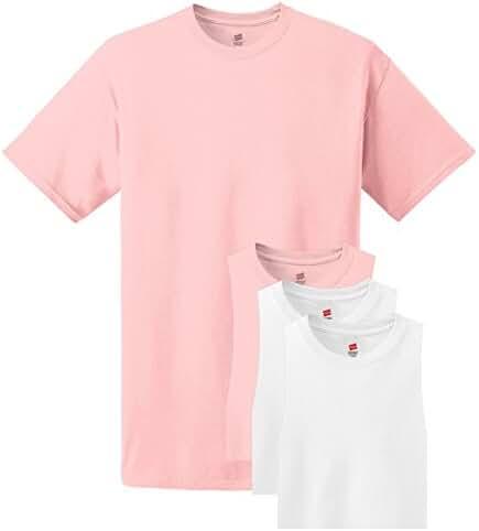 Hanes mens 5.2 oz. ComfortSoft Cotton T-Shirt(5280)-Pale Pink/White-XL-2PK
