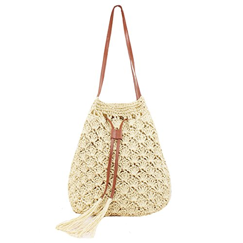 CLARA Women Summer Beach Bag Straw Weave Bucket Bag Drawstring Shoulder Bag Tote Bag Handbag Purse(Beige) (Beige Bucket)