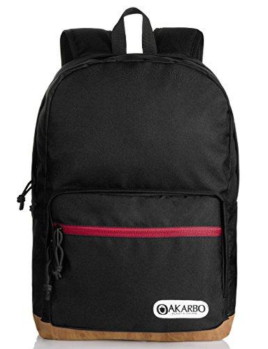 Oakarbo Nylon Backpack Travel Daypack Large Schoolbag Fits 15 Inch Laptop (5213 Black)