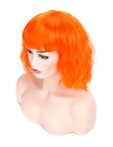 Morvally Short Wavy Curly Bob Wig with Bangs Natural Heat Resistant Synthetic Hair Cosplay Costume Party Wigs (Orange) -