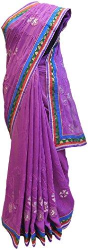 (SMSAREE Violet Designer Georgette (Viscos) Hand Embroidery Zari Sequence Thread Work Saree Sari AZSAC482)