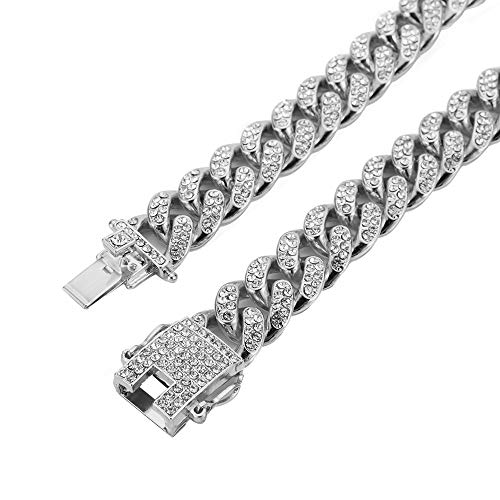 Mandy Hip Hop 12MM Cuban Chains 18K Gold Plated CZ Fully Iced-Out Link Miami Necklace (Silver, 24) ()