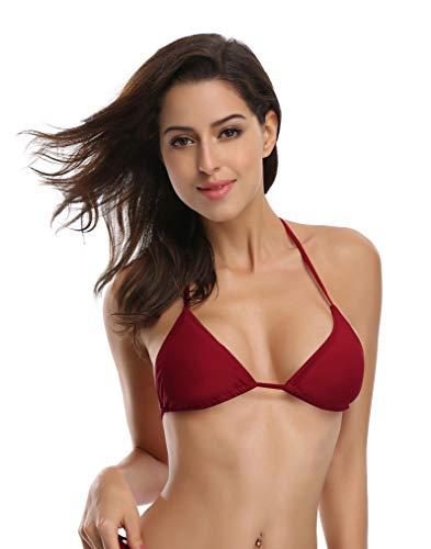 762059aef085 SHEKINI Women's Tie Side Bottom Push up Padded Top Triangle Bikini Bathing  Suit (Wine Red