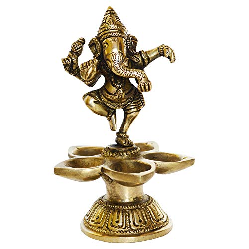 (Pink-Lotus Dancing Ganesha Brass Oil Lamp Decorative Metal Lamp Statue for Home Decor- Table Decor showpiece - Home Decor| Best Handicrafts | Meenakari Work |Handwork |)