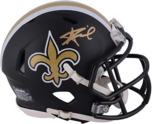 Alvin Kamara New Orleans Saints Autographed Riddell Black Matte Alternate Speed Mini Helmet - Fanatics Authentic Certified
