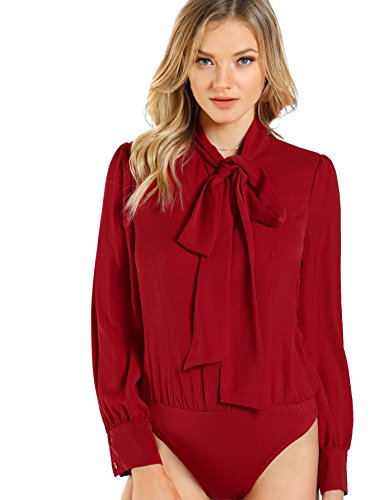 DIDK Women's Long Sleeve Bow Tie Neck Plain Blouse Bodysuit Red L