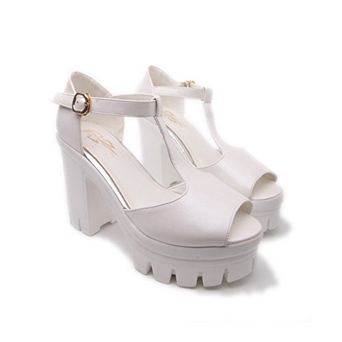 Allhqfashion Womens Peep Toe Fibbia Pu Sandali Tacchi Alti Con Metallo Bianco
