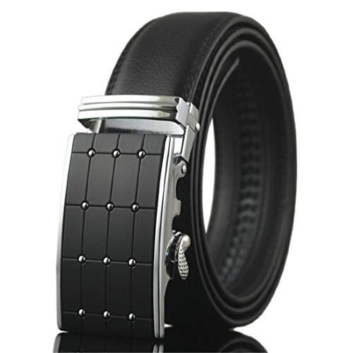 KHC Men's Belt 100% Leather Belt Ratchet Automatic Adjustable Buckle Black