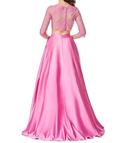 Alt Bodenlang Spitze Abendkleid Promkleider Zwei Langarm Teilig Damen Rosa Elegant Cocktailkleider Charmant Partykleider qwPBvX
