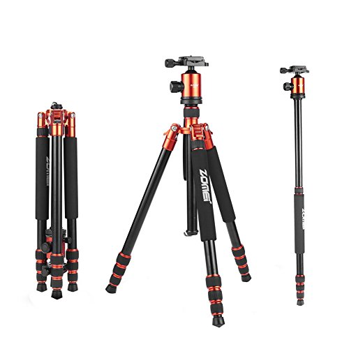ZoMei Z818 Light Weight Heavy Duty Portable Magnesium Aluminium Travel Tripod Come With Quick Release Plate Ball Head and Carry Case For Canon Sony Nikon DSLR Cameras(Orange) by ZOMEI