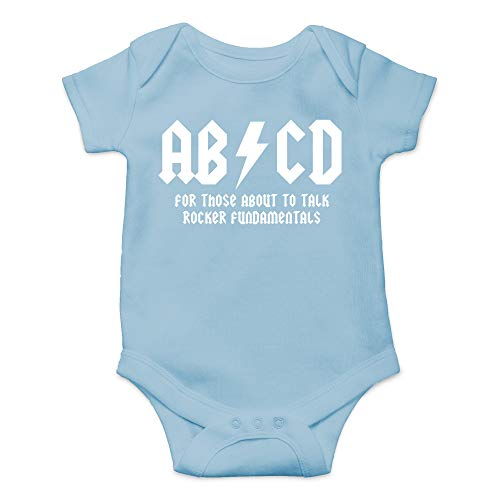 CBTwear ABCD - AC Music Toddler DC Rock and Roll Funny Romper Cute Novelty Infant One-Piece Baby Bodysuit (Newborn, Light Blue)