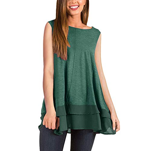 (Womens Solid Color Ruffle Tops, CSSD Ladies Summer Sleeveless Beach A Line Skirt Lace Casual Dress (M, Green))
