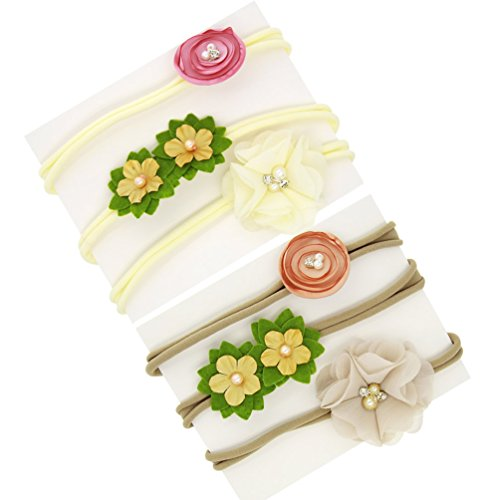 inSowni 6pcs Nylon Headbands Chiffon Flower for Newborn Baby Girl Infants Toddlers Kids (6PCS S3) -