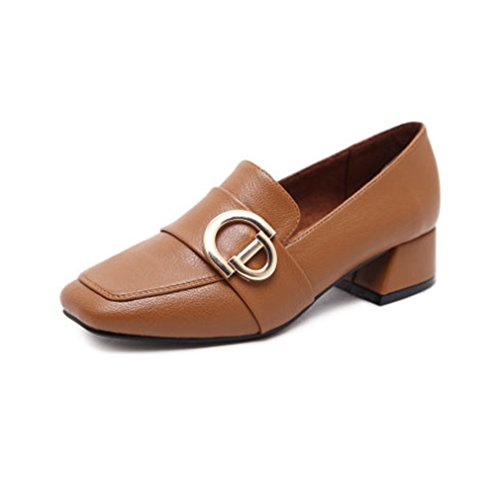 Slip Penny Buckle Heel Pumps Shoes Business Loafer On Block Dress Toe Loafers Womens GIY Brown Classic Square xwv7q8YYI