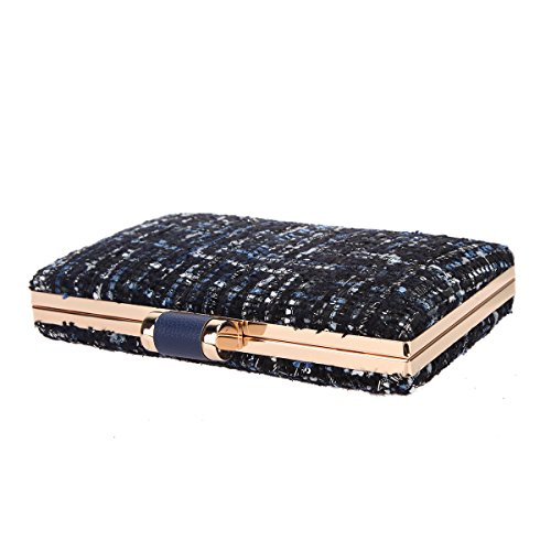 Clutches Evening Bonjanvye Women For Weave Designer Bags And Fabric Blue Clutch wwTq8S