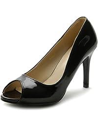 Women's Shoe Open Toe High Heel Enamel Basic Pump