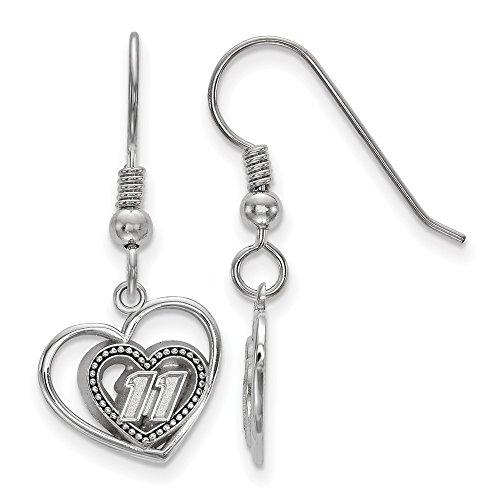 Sterling Silver Women's 11 Denny Hamblin NASCAR Jewelry Earrings 12 mm 31 mm PIERCED HEART PATTERN DRIVER #11 EARRINGS TO MATCH PENDAN
