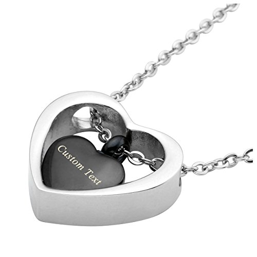 Zysta Free Engraving - Personalized Custom Grandmother/Mother/Daughter Double Shaped Heart Small Cremation Urn Pendant Necklace for Ashes of Loved One In ()