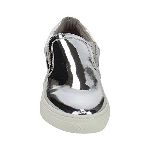 Soda IF13 Frauen Classic Elastic Panel Slip auf genähte Mode Sneaker Silber