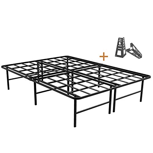 ZIYOO 16 Inch Platform Bed Frame Base, Mattress Foundation, Box Spring Replacement, Quiet Noise-Free, Headboard-Bracket Included, Queen (Sale Furniture Boxing Day)