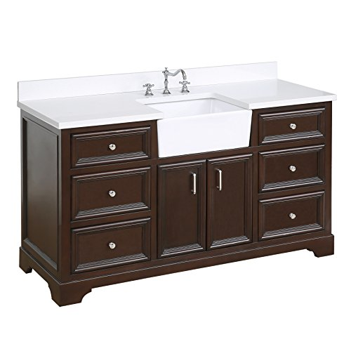 Zelda 60-inch Single Bathroom Vanity (Quartz/Chocolate): Includes a Quartz Countertop, Chocolate Cabinet with Soft Close Doors & Drawers, and White Ceramic Farmhouse Apron ()
