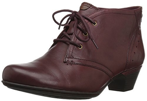 Rockport Cobb Hill Women's Cobb Hill Aria Ankle Bootie, Merlot Leather, 8 M US (Rockport Boot Women)