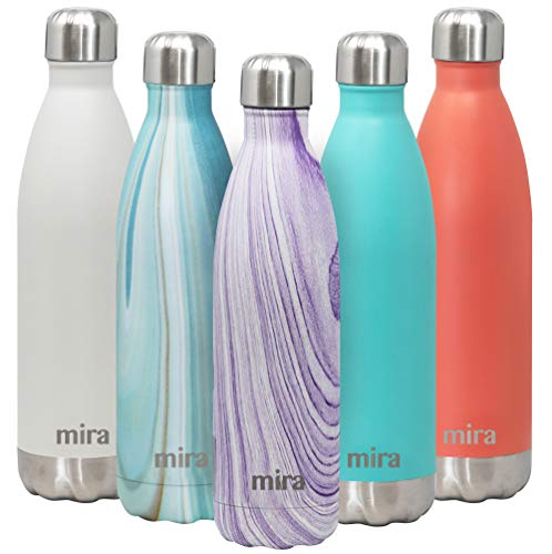 MIRA 25 Oz Stainless Steel Vacuum Insulated Water Bottle | Double Walled Cola Shape Thermos | 24 Hours Cold, 12 Hours Hot | Reusable Metal Water Bottle | Leak-Proof Sports Flask | Purple Granite -