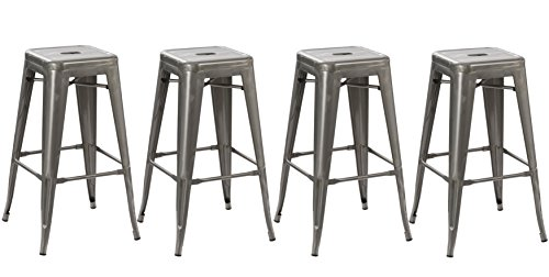"BTExpert Solid Steel Stacking Industrial Distressed Rustic Metal Tabouret Dining Room Modern Steel Barstool, 30"" L, Set of 4"
