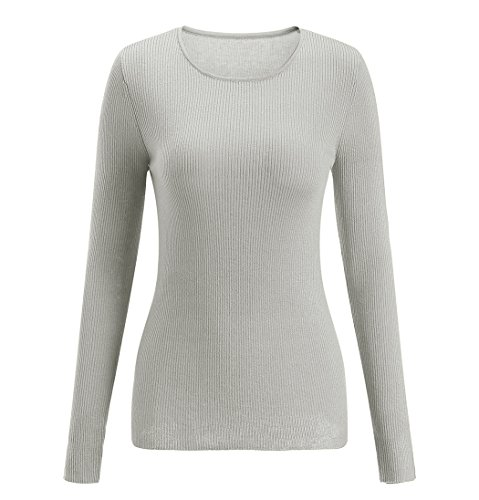 SSeary Women Crewneck Basic Pullover Sweater Lightweight Cozy Cashmere Knit Tops(Light Grey,M)