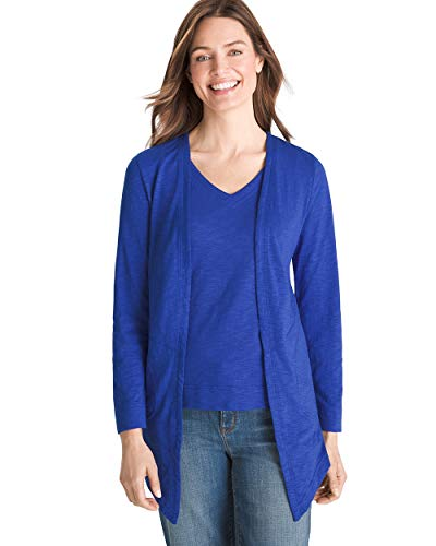 Chico's Women's Cotton Slub Cardigan Size 20/22 XXL (4) Blue
