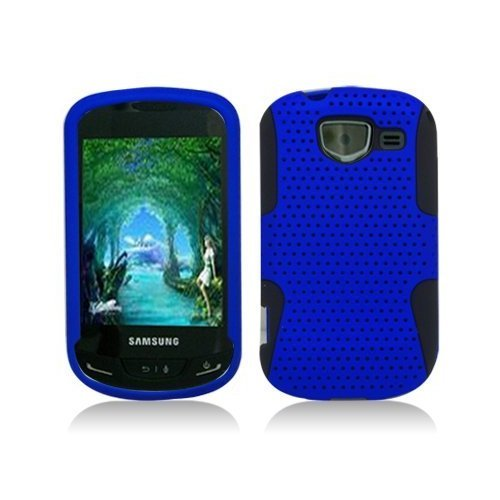Importer520 Blue / Black Apex Mesh Hard Silicone Hybrid Gel Case Cover For Samsung Brightside U380 - Samsung Brightside Case Blue