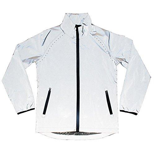 Edgogvl Men's Outwear 3M Reflective Zipper Hooded Windbreaker Lightweight Running Jacket (US L(Tag XXL), Grey6)