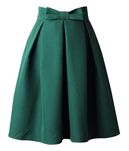 Bowknot High Waist Skirt Flared Lined Zipper Midi Skirt Shiny Retro Cute Pleated Bubble Skirt Green XX-Large