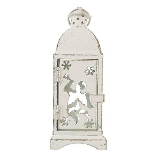 SOLUSTRE Lámpara de viento de cristal resistente al viento de hierro forjado decorativa vintage de metal envejecido…