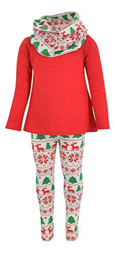Unique Baby Girls 3 Piece Red Christmas Winter Legging Set (8) -