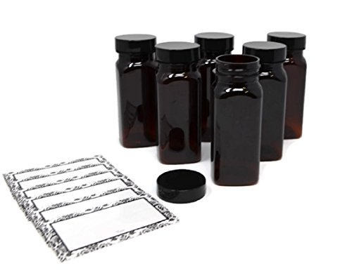 BROWN AMBER PLASTIC SQUARE BAIRE BOTTLES, 4 oz Refillable Containers, 6-PACK, Black Lids, ORGANIZE YOUR KITCHEN, CRAFT ROOM, GARAGE or CREATE WEDDING AND PARTY FAVORS, BONUS 6 DAMASK WATERPROOF - Fairview Square