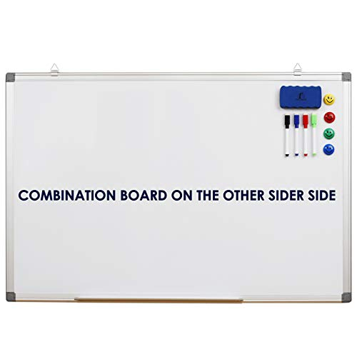 """Whiteboard Bulletin Board Set Double Sided - Dry Erase/Cork Board 35 x 24"""" + 1 Magnetic Dry Eraser, 4 Markers, 4 Magnets and 10 Pins - Tack White Board for Home and Office (Double Sided 35x24"""")"""