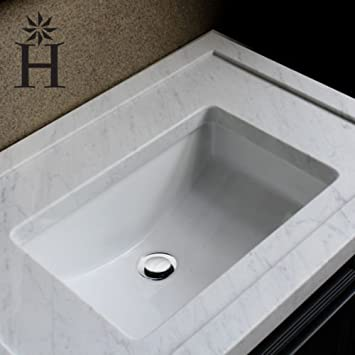 Highpoint Collection White 18x12 Inch Undermount Ceramic Vanity Sink