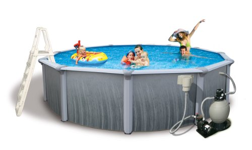 Blue Wave Martinique 15-Feet Round 52-Inch Deep 7-Inch Top Rail Metal Wall Swimming Pool Package by Blue Wave