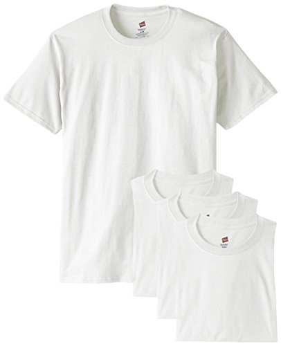 Hanes Men's ComfortSoft T-Shirt (Pack of 4), White, (Plain Crewneck T-shirt)