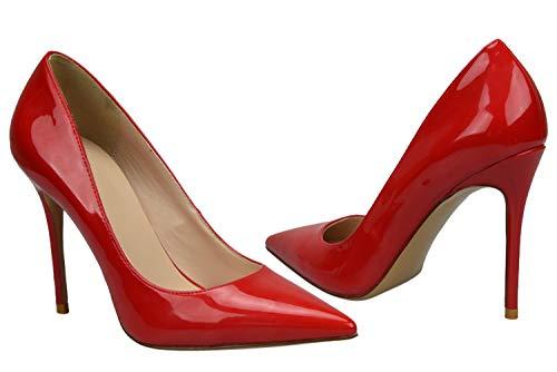 Synthétique Formel Stiletto Hauts Brillant Femme 1 De Taille Classe Grande Pointu Bigtree Cuir Rouge Bout Escarpins À Talons qw1wC7S