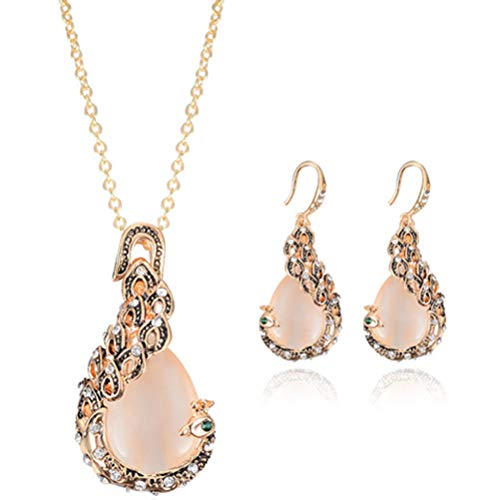 MeniaMeow Necklaces Earrings Suit, Panelled Comfy Cute Chic Rhinestone Decorated Peacock Shape Necklace and Earrings for Women