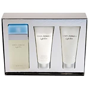 LÍGHT BLÜE BY Dolcé & Gabbaná 3PC Gift Set Perfume for Women [3.3oz edt spray+3.3oz B/C+3.3oz S/G] NIB