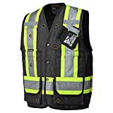Pioneer Construction Reflective Surveyor Vest, 10 Pockets, Harness D-Ring Slot, Black, S, V1010670-S